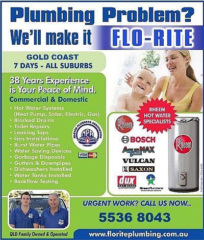Flo-Rite Plumbing services all Gold Coast suburbs.