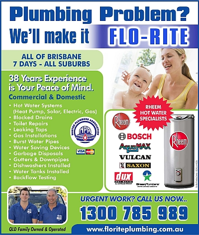 Flo-Rite Plumbing services all Brisbane suburbs.